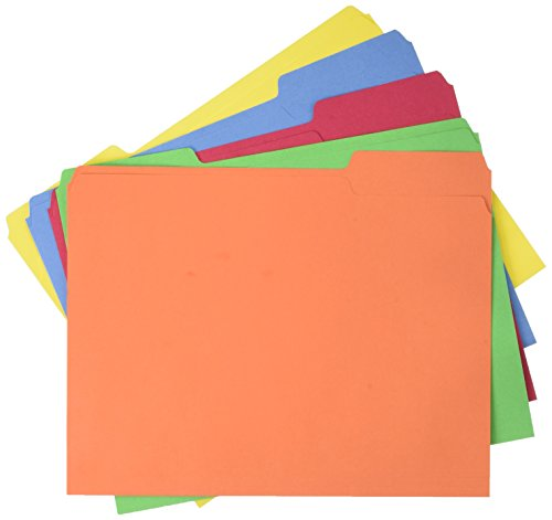 AmazonBasics AMZ401 File Folders - Letter Size (100 Pack) – Assorted Colors - File Folder Letter