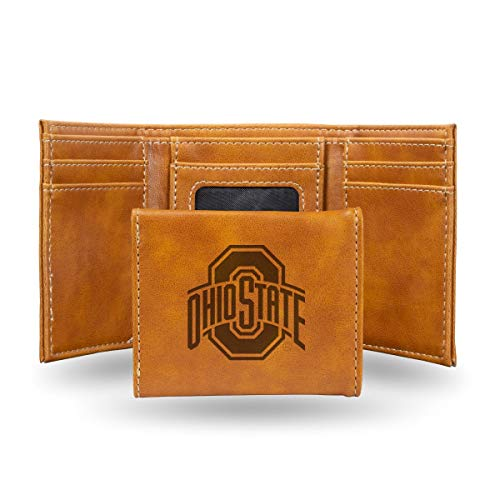 Rico Industries NCAA Ohio State Buckeyes Laser Engraved Tri-Fold Wallet, Brown