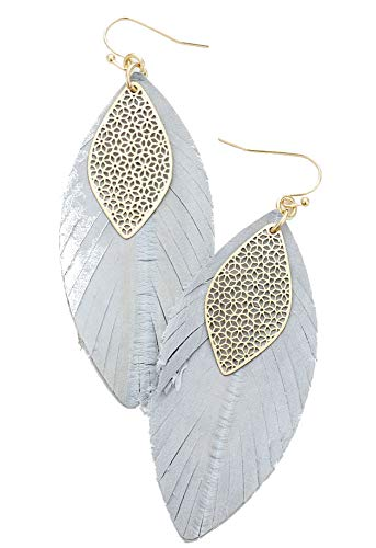 Gray Genuine Earring - Gray and Gold Filigree Leaf Genuine Leather Earrings, 1.25
