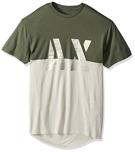 A|X Armani Exchange Men's Ax Bi Color Metallic Graphic Jersey Tee, Thyme, Large (Green T-shirts Armani Mens)