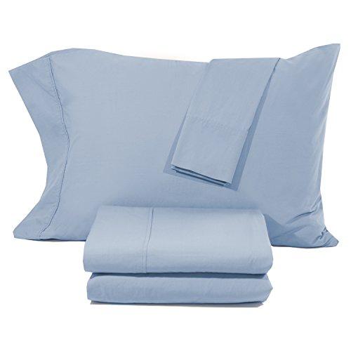 Hotel Exclusive S200QCB 200 TC Vintage Washed Percale, Coastal blue, Queen (Vintage Percale Sheet Set)