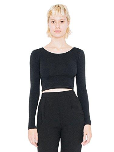 american-apparel-womens-cotton-spandex-jersey-long-sleeve-crop-top-size-m-black