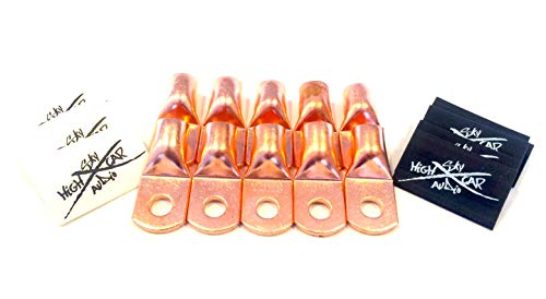 Sky High Car Audio (10) 1/0 Gauge Copper Ring Terminals 3/8