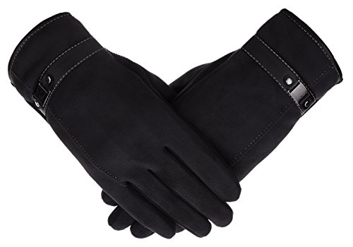 IL Caldo Mens NEW Suede Plush Lining TouchScreen Winter Thick Drive Gloves,Black