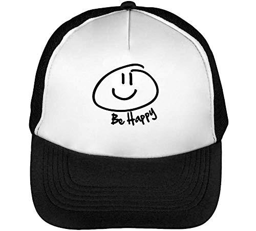Be Happy Smile Gorras Hombre Snapback Beisbol Negro Blanco