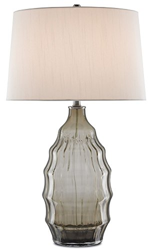 Currey and Company 6000-0117 Ripple - One Light Table Lamp, Smoke Gray Finish with Off-White Shantung (Ripple Table Lamp 1 Light)