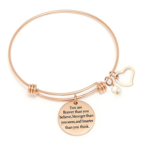 RIVERTREE You are Braver Than You Believe' Stainless Steel Inspirational Expandable Wire Bangle Bracelets with Message Charm for Women - Rose Gold]()
