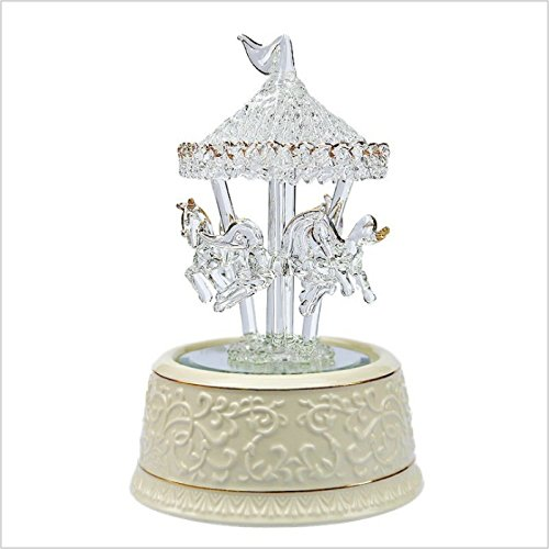 sea jump Carousel Music Box Shiny Crystal Glass Music Box Christmas New Year Graduation Birthday Gift (Large: [song: love you more every day])