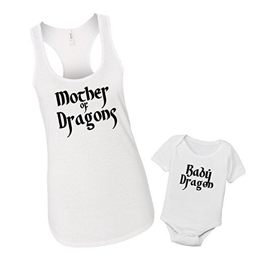 Mother of Dragons Matching Tank Top Shirt Set (Tank Top LG, 6-12M) (Dragon Girl Game Of Thrones)