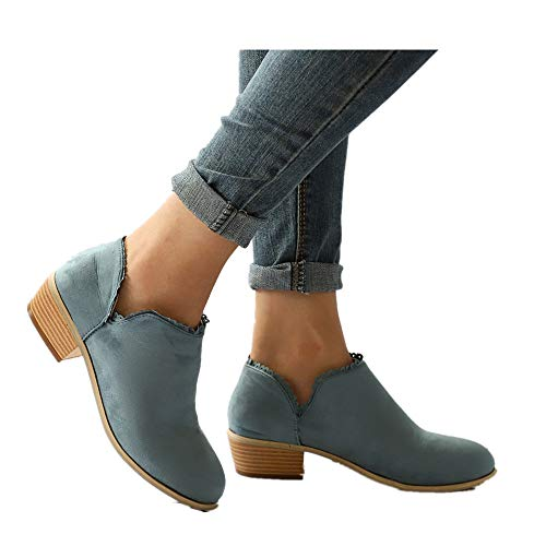 Women's Ultra Comfortable and Soft Lining Slip on Low Heel Closed Pointed Toe Boot (Sky Blue -5, US:7.0)
