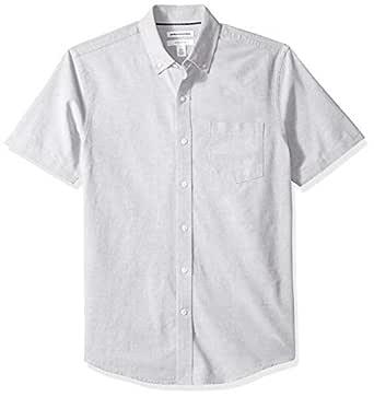 Amazon Essentials Men's Slim-Fit Short-Sleeve Solid Pocket Oxford Shirt, Grey, X-Small