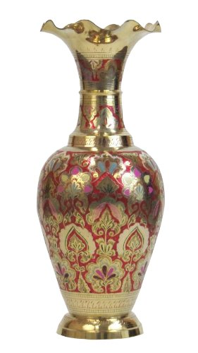 Amazon Elegant Indian Enameled And Etched Solid Brass Vase 24