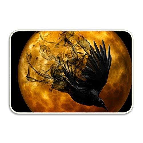 Holiday Halloween Orange Black Artistic Moon Bird Raven