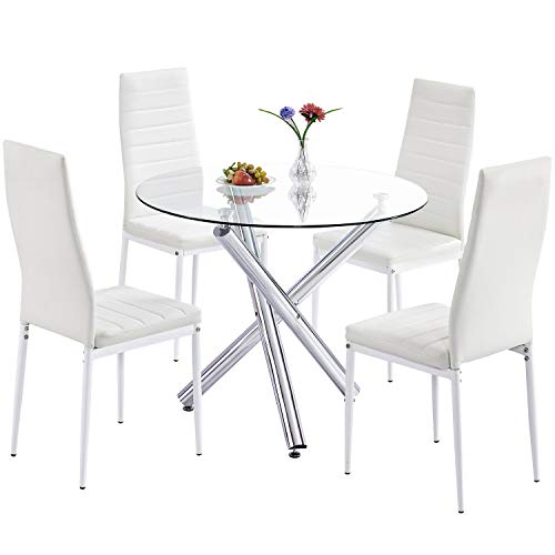 3 Piece Glass Top Table - Trustiwood Modern 5 Piece Dining Table Set, Tempered Glass Top Table w/4 PU Faux Leather Chairs Kitchen Dining Room Breakfast Dinette Furniture, White