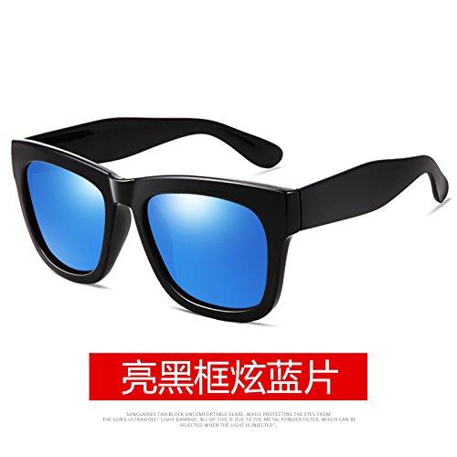 negro marea Macho Bright antiguo gafas gafas Black negro sol Blue marco de Box cuadro de conducción polarizadas Chip de moda ceniza brillante de alta lente gafas KOMNY definición ZYdwqZ
