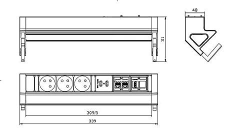 1,5 m c/âble pour Bureau Cuisine EL4103KU-FR Protection en m/étal Contre Les surtensions Prise Plan de Travail Atelier Elbe Bloc Prise de Bureau multiprise 3 Prises 2 USB avec Interrupteur