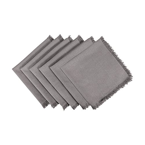 DII 100% Cotton, Oversized Basic Everyday Woven Heavyweight Napkin with Decorative Fringe for Place Settings, Family Dinners, BBQ, and Holidays (20x20, Set of 6) Gray Solid