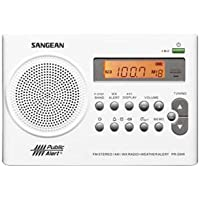 Sangean PR-D9W AM/FM/Weather Alert Rechargeable Portable Radio, FM Stereo/AM/NOAA Weather Band, 7 Preset Weather Channel, Automatic Alert Warns you of Hazardous Condition, Flashing Red LED Light with Emergency Siren