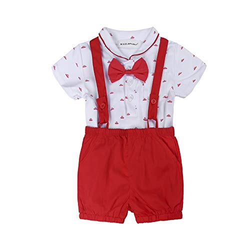BIG ELEPHANT Baby Boys' 2 Piece T-Shirt Suspender Shorts Clothing Set