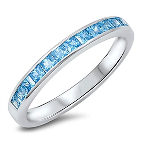 - Simulated Aquamarine Princess Cut Eternity Band .925 Sterling Silver Ring Size 6