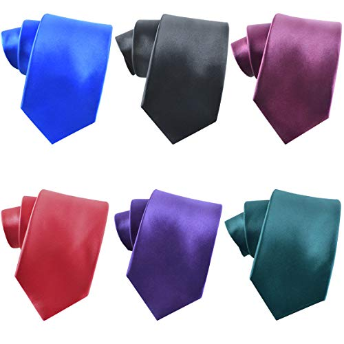 Jeatonge Men's Neckties Solid Color Ties for men 6 pcs Neck ties set (6 solid ties set) ()