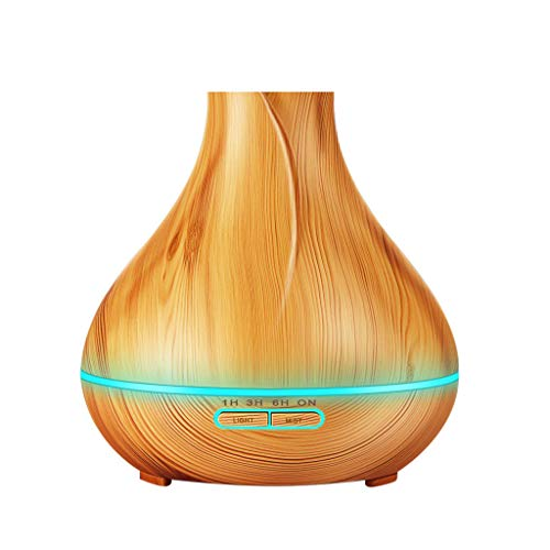 YJYdadaS Wood Grain Home Diffuser Ultrasonic Air Humidifier Purifier High Capacity 400ml (Khaki)