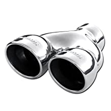 Flowmaster 15369 Exhaust Tip -Dual 3.50 in Rolled Angle Polished SS Fits 2.50 in.Tubing - weld on
