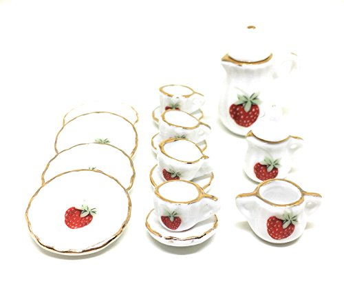 17pcs British Style 1/12 Dollhouse Miniature Ceramic Dining Ware Porcelain Tea Set Strawberry Print Decoration Classic Furniture Toy for Children Kid (Tea pot set (Strawberry))