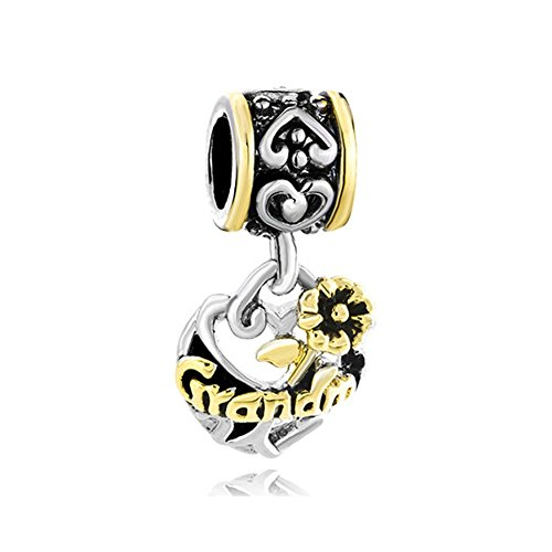 1 Grandmother Charm - CandyCharms Grandma Flower Dangle Beads Charms for Bracelets (Grandma Style 01)
