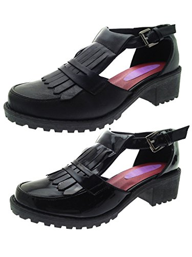 Womens Low Block Heel Brogue Shoes Cut Out Open Work Loafers Geek Sandals Chunky Platforms Ladies Girls Size UK 3-8 black patent B86l8M