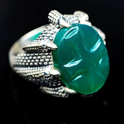 Ana Silver Co Green Onyx Ring Size 6 (925 Sterling Silver) - Handmade Jewelry, Bohemian, Vintage RING967201 from Ana Silver