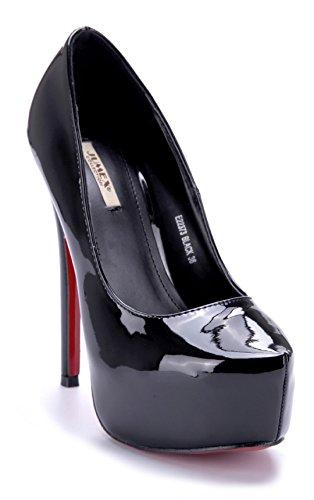 Schuhtempel24 Damen Schuhe Plateau Pumps Stiletto 14 cm High Heels Schwarz