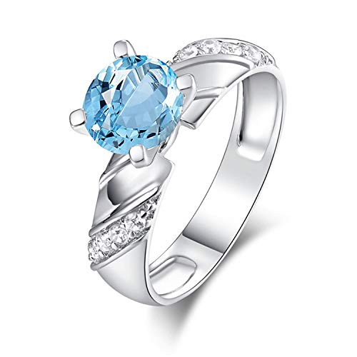 Aokarry - S925 Silver Sterling Womens Hers Promise Rings Blue Created-Topaz December Birthstone Size 8.5