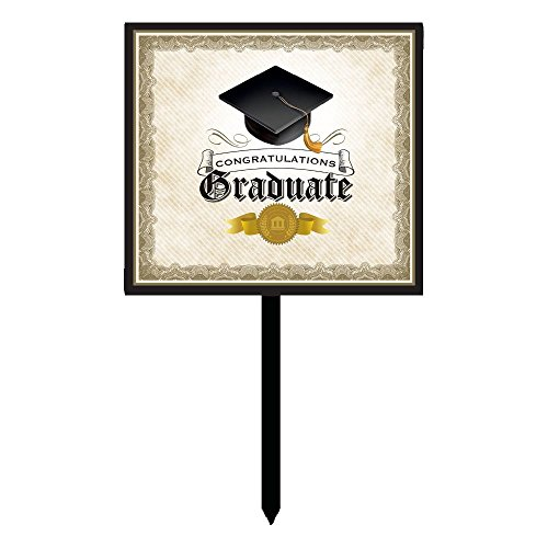 Creative Converting Congratulations Graduate Yard Sign Party Decoration with Cap and Gown, Black/White/Gold