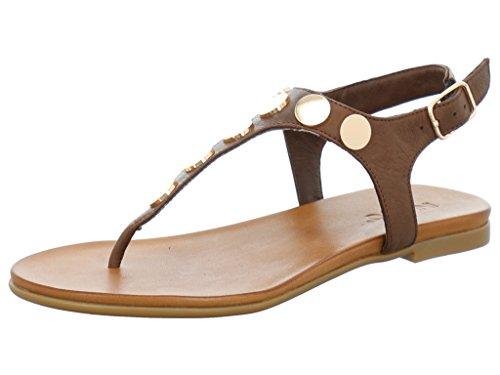 Inuovo 6355 - Sandalias de Piel para mujer marrón oscuro