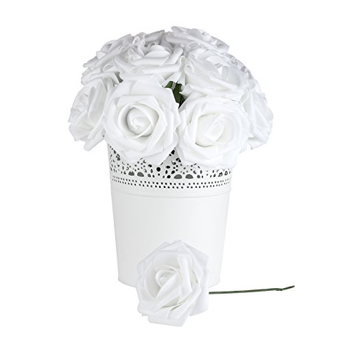 Umiss Wedding Bouquet 25pcs Artificial Flowers White Real Touch Artificial Roses for Bouquets Centerpieces Wedding Party Baby Shower DIY Decorations (25pcs White)