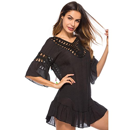 Pure Manuelle Robe Cardigan Noir Soie Creux Mousseline Femmes Sunscreen Unique Crochet Adeshop Couvrir Vêtements Chic Knit Été Bikini De Plage nqY41Bvw
