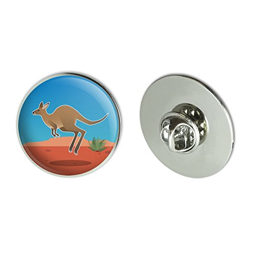 """Graphics and More Kangaroo Hopping in The Australian Outback Metal 1.1"""" Tie Tack Hat Lapel Pin Pinback"""