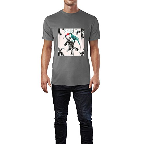 SINUS ART® Pop Art Motiv mit Paradiesvogel in den Tropen Herren T-Shirts in Grau Charocoal Fun Shirt mit tollen Aufdruck