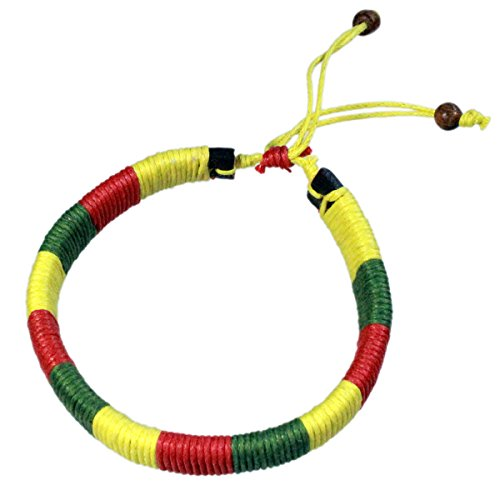 Rasta Braided Band Bracelet Red, Yellow and Green Cotton Wax Cord (Yellow Wax Cord Bracelet)