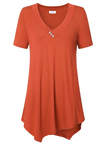- Blouses 3x, Ca Kra Women's Short Sleeve Work Blouses V-Neck Summer Casual Top Tunic Shirts Plus Size, Orange XXXL