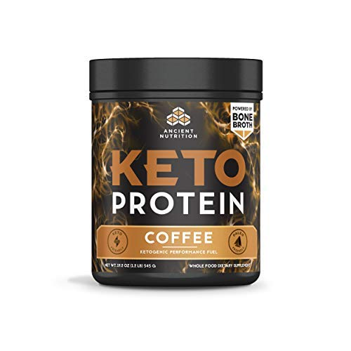 Ancient Nutrition KetoPROTEIN Powder Coffee, 17 Servings - Keto Diet Supplement, High Quality Low Carb Proteins and Fats from Bone Broth and MCT Oil