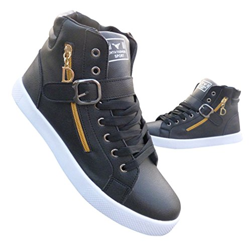 Sun Lorence Men's Fashion High Top Skateboard Shoes Street Leather Lace-up Side Zip and Strap Sneakers Black 9.5 M US Men by Sun Lorence