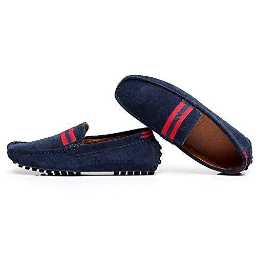 Shenn Último Diseño Hombres NATO-Correa Cuero Mocasines Ante Zapatos de Conducción 7588 azul
