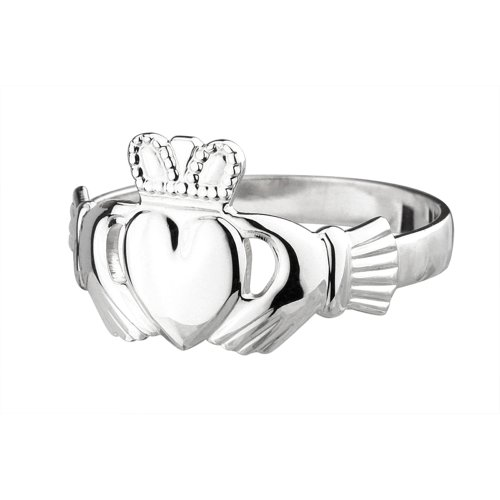 Claddagh Ring Ladies Medium Standard Sterling Silver Size - Ring Ladies Claddagh Rings