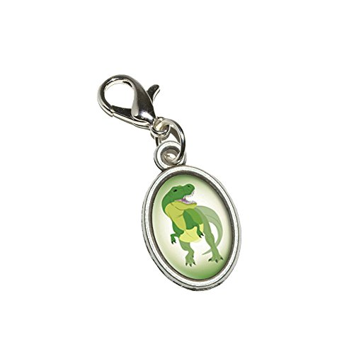 Graphics and More Tyrannosaurus Rex - T-Rex Dinosaur Antiqued Bracelet Pendant Zipper Pull Oval Charm with Lobster Clasp