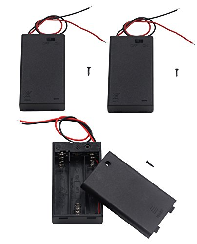 LAMPVPATH (Pack of 3) 3 AAA Battery Holder with Switch, 4.5V Battery Holder With Switch, 3x 1.5V AAA Battery Holder with Leads and Switch