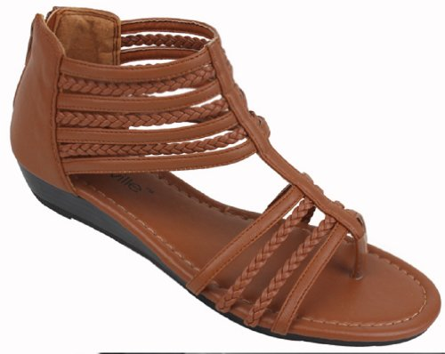 Shoes 18 Womens Braided Roman Gladiator Sandals Flats Thongs Shoes (7, Brown 81002)