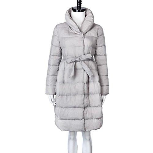Lightweight Winter Women's Thicker Collar Belt Cotton Jacket Long Coat Fashion Down Parka A Packable Gray Mingfa aqdCz4qxw