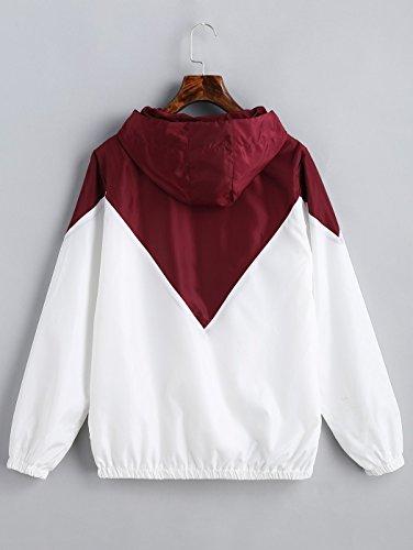 Jackets Rosso Sweatshirt Gli Cappotto Felpa Donne Tasche Cerniera Giacche L'ananas Blocking Color Coat Vino bianco Outwear Con Blocco Colore Giacche Sport Cappuccio U6Rqa
